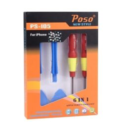 Poso PS-105 6 in 1 Screwdriver Repair Open Tool Kit For iPhone Devices, mobile repair tools