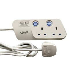 Total AC Power Extension 2 Sockets 2 USB 2m Cord