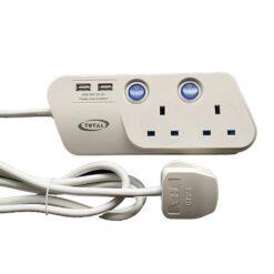 Total AC Power Extension 2 Sockets 2 USB 2m Cord