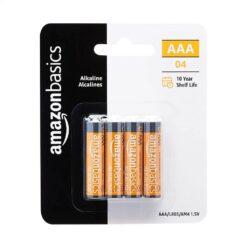 AmazonBasics AAA 1.5 Volt High-Performance Alkaline Batteries 4 Pack - 10 Year Shelf Life