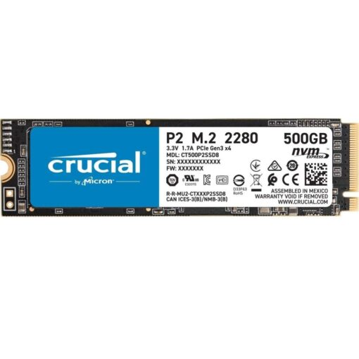 Crucial P2 500GB 3D NAND NVMe PCIe M.2 SSD Up to 2400MBs - CT500P2SSD8