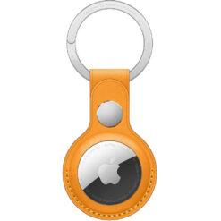 Apple AirTag Leather Key Ring - California Poppy